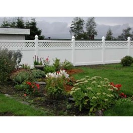 White Privacy Fence with Lattice - 8ft Wide and 6ft High
