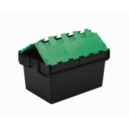 Heavy Duty Tote Box, Attached Lid Container - 54L