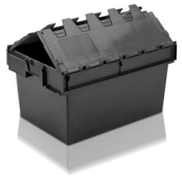 Tote Box, Attached Lid Container - 54L