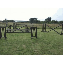 Show Jumps - Working Hunter -  SET OF 4 - 4ft & 5ft Wings, 10ft Poles + Cups