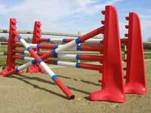 plastic jumps, blocks, poles, water trays